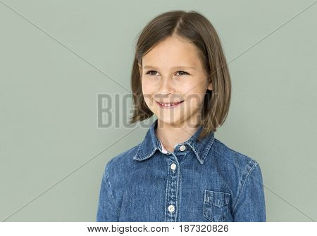 A happiness caucasian girl is wearing jeans
