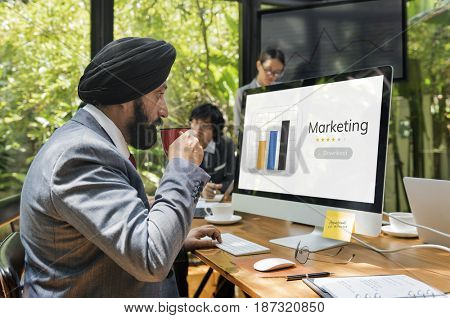 Business people with analysis business chart illustration