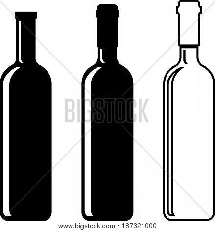 Wine Bottle  Raster Illustration