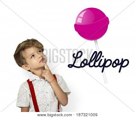 boy with illustration of sweet candy lollipop