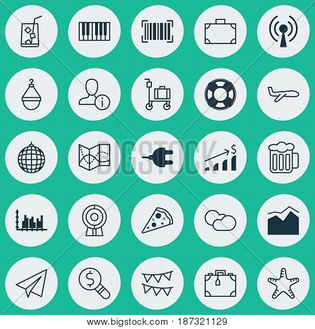 Set Of 25 Universal Editable Icons. Can Be Used For Web, Mobile And App Design. Includes Elements Such As Portfolio, Air Transport, Suitcase And More.