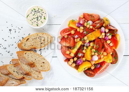 Salad With Fresh Tomatoes, Garbanzo Beans
