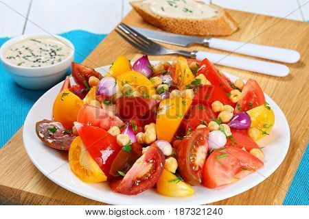 Chickpeas, Tomatoes Slice, Red Onion Salad