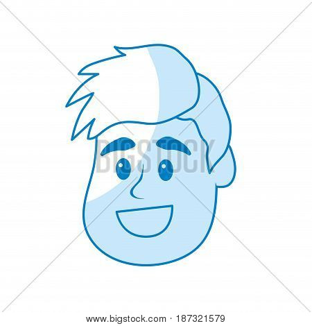silhouette happy and nice head man with hairstyle, vector illustration