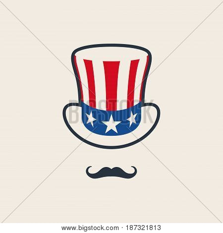 Uncle Sam's Symbol. Hat with mustache. Concept of American Freedom and liberty. Vector icon.
