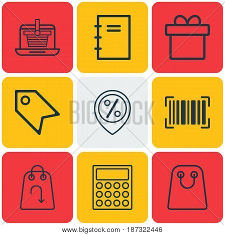Set Of 9 Commerce Icons. Includes Discount Location, Price Stamp, Spiral Notebook And Other Symbols. Beautiful Design Elements.