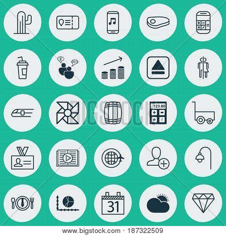 Set Of 25 Universal Editable Icons. Can Be Used For Web, Mobile And App Design. Includes Elements Such As Electronic Tool, Extract Device, Taped Book And More.