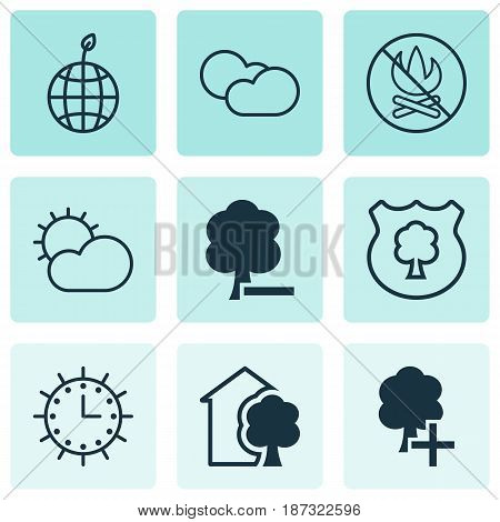 Set Of 9 Eco Icons. Includes House, Fire Banned, World Ecology And Other Symbols. Beautiful Design Elements.