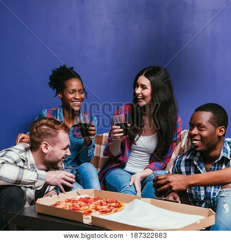 Company Fun Home Pizza Party Leisure Smile Laugh Interracial Friend Group Friendship Background Concept