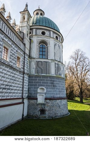 Divine Tower In Renaissance Krasiczyn Castle In Poland.