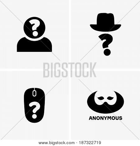 Set of four  anonymous symbols on grey background
