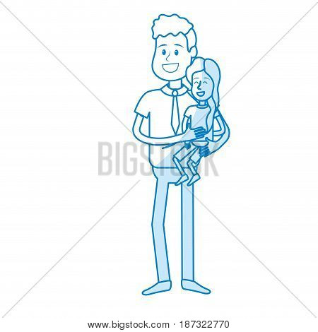 silhouette nice father carrying his daughter in the hands, vector illustration