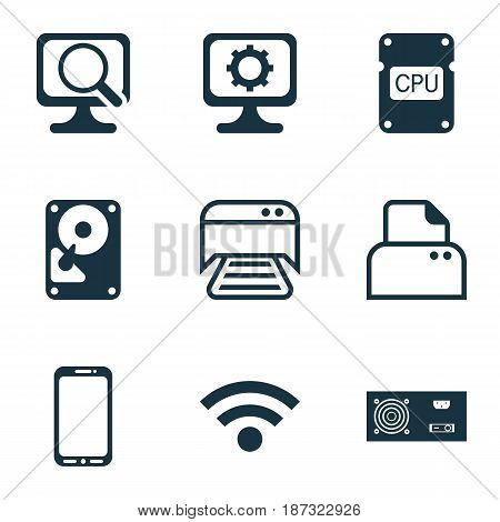 Set Of 9 Computer Hardware Icons. Includes Printed Document, PC, Laptop And Other Symbols. Beautiful Design Elements.