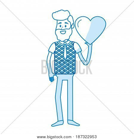 silhouette man with nice heart in his hand and cute wear, vector illustration