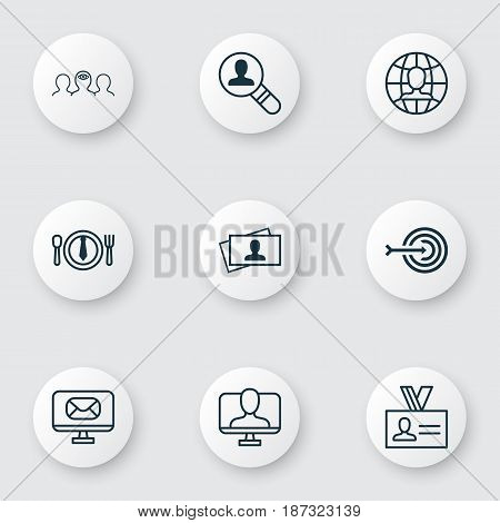 Set Of 9 Business Management Icons. Includes Open Vacancy, Calling Card, Coaching And Other Symbols. Beautiful Design Elements.