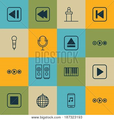 Set Of 16 Audio Icons. Includes Stop Button, Song UI, Mike And Other Symbols. Beautiful Design Elements.