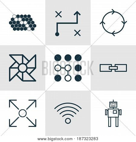 Set Of 9 Artificial Intelligence Icons. Includes Recurring Program, Related Information, Branching Program And Other Symbols. Beautiful Design Elements.