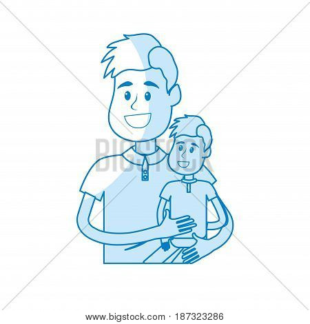 silhouette nice father carrying his son in the hands, vector illustration