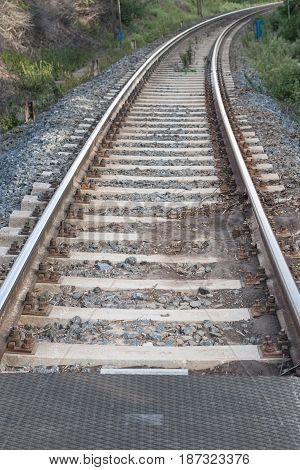 Railroad track running in the middle of countryside