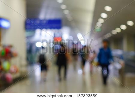 Lights of lobby in airport out of focus - bokeh background