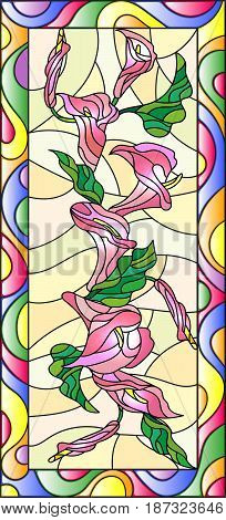 Illustration in stained glass style with flowers buds and leaves of Calla flowervertical orientation