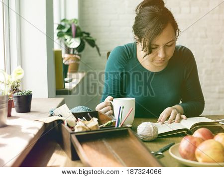 Photo Gradient Style with Woman Reading Relax Drinking Eating Breakfast