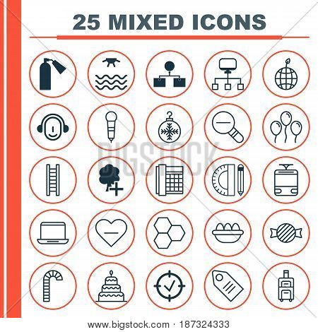 Set Of 25 Universal Editable Icons. Can Be Used For Web, Mobile And App Design. Includes Elements Such As Streetcar, Work Phone, Luggage And More.