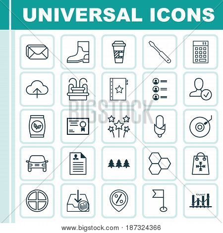 Set Of 25 Universal Editable Icons. Can Be Used For Web, Mobile And App Design. Includes Elements Such As Discount Location, Confirm Profile, Investment And More.