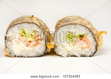 two beautiful sushi roll closeup isolated on gray background
