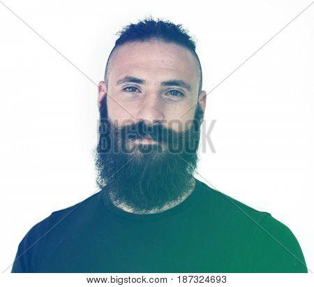 Adult Beard Man Face Expression Studio