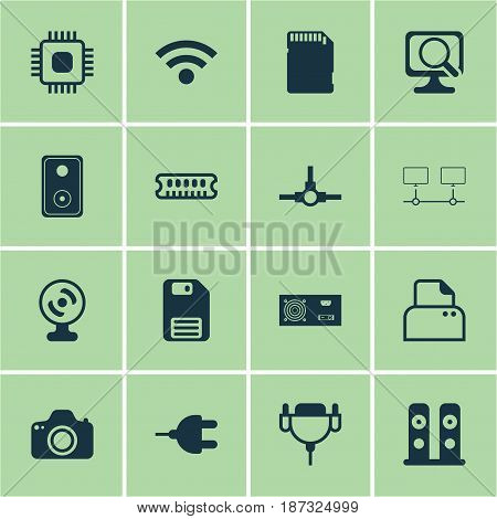 Set Of 16 Computer Hardware Icons. Includes Web Camera, Loudspeakers, Vga Cord And Other Symbols. Beautiful Design Elements.