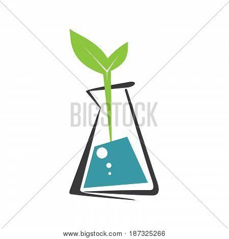 Laboratory ecology vector logo. Lab eco icon logo isolated. Chemicals, nature logo, natural logo, science logo icon, technology logo, eco green icon logo.