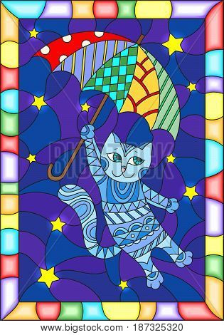 Illustration in stained glass style with funny flying cat on the umbrella against the starry night sky