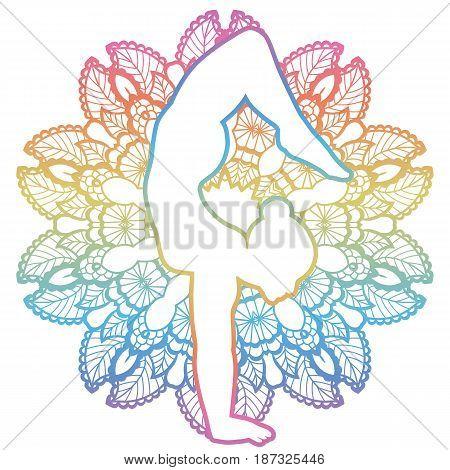 Mandala round background. Arm Balance Scorpion Yoga Pose. Bhuja Vrischikasana. Vector illustration
