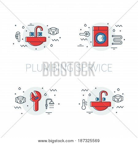 Plumbing service set of illustrations and logos with sink basin, washing machine and adjustable pipe wrench