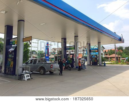 PAI THAILAND: PTT gas station in Pai district Thailand on 24 May 2017