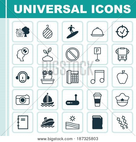 Set Of 25 Universal Editable Icons. Can Be Used For Web, Mobile And App Design. Includes Elements Such As Obstacle, Employee, Pilot Hat And More.
