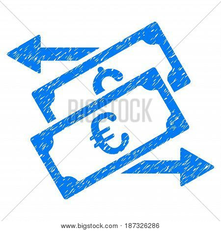 Grunge Banknotes Exchange icon with grunge design and dust texture. Unclean vector blue pictogram for rubber seal stamp imitations and watermarks. Draft sign symbol.