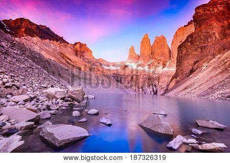 Torres del Paine Chile - Laguna Torres famous landmark of Patagonia.
