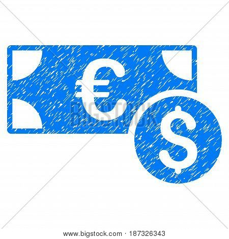 Grunge Cash icon with grunge design and dirty texture. Unclean vector blue pictogram for rubber seal stamp imitations and watermarks. Draft sign symbol.