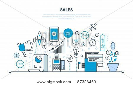 Sales, investment, financial growth, methods and ways to increase revenue and performance indicators. Illustration thin line design of vector doodles, infographics elements.