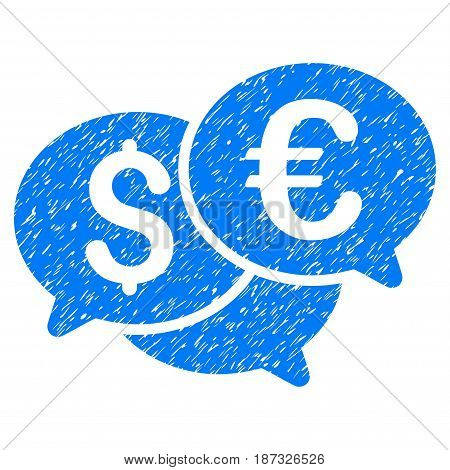 Grunge Currency Bids icon with grunge design and scratched texture. Unclean vector blue pictogram for rubber seal stamp imitations and watermarks. Draft sign symbol.