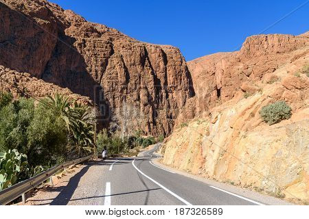 Road to Todgha Gorge is canyon in Atlas Mountains near Tinghir in Morocco