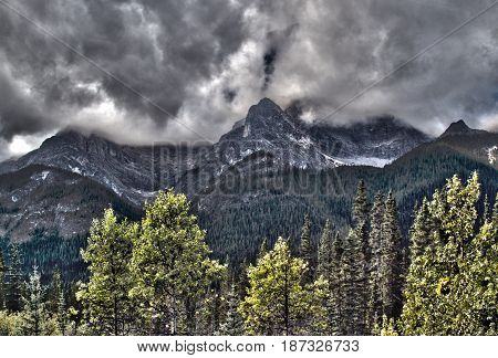 An HDR image of a mountain in Kananaskis country.