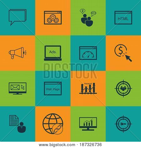 Set Of 16 Advertising Icons. Includes Media Campaign, Web Page Performance, Keyword Marketing And Other Symbols. Beautiful Design Elements.