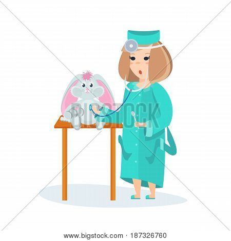 Children choose profession. Girl in suit of a young doctor, with appropriate equipment, tries herself as a doctor, listening to a soft toy. Modern vector illustration isolated on white background.