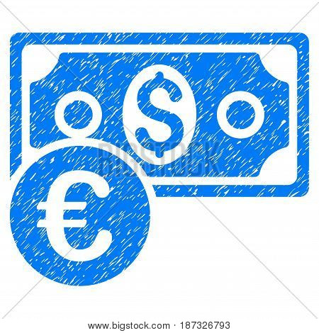 Grunge Currency Cash icon with grunge design and scratched texture. Unclean vector blue pictogram for rubber seal stamp imitations and watermarks. Draft emblem symbol.