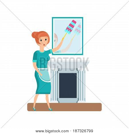 Working in hotel room. Cleaning service maid, a hotel worker, wipes dust and wipes furniture, mirrors, cleans the room. Modern vector illustration isolated on white background.