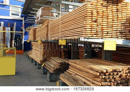 Building materials for wholesale distribution outdoors