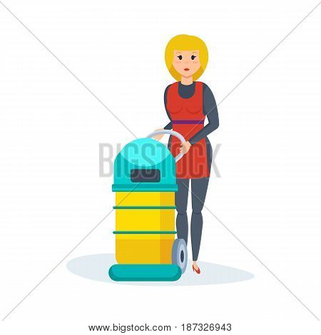 Cleaning service maid of hotel. Working girl retracts in the hotel room, vacuums and collects dust and underwear. Modern vector illustration isolated on white background.